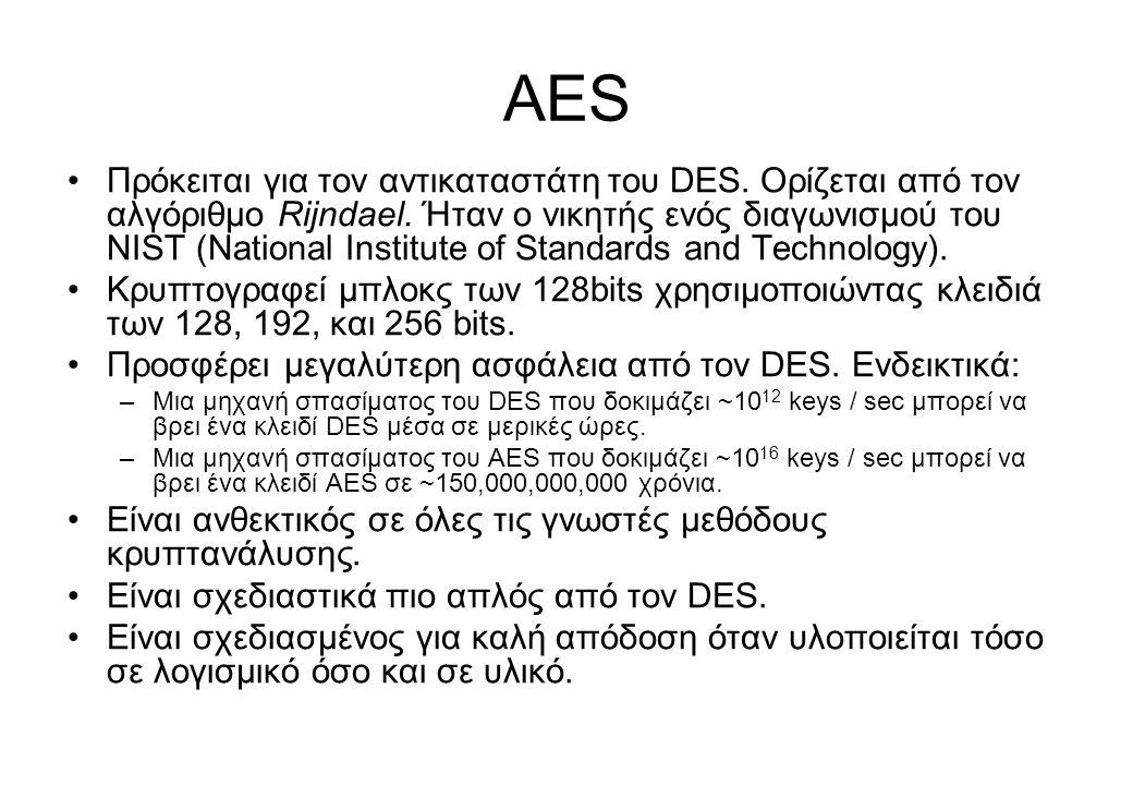 AES •Πρόκειται για τον αντικαταστάτη του DES. Ορίζεται από τον αλγόριθμο Rijndael. Ήταν ο νικητής ενός διαγωνισμού του NIST (National Institute of Sta