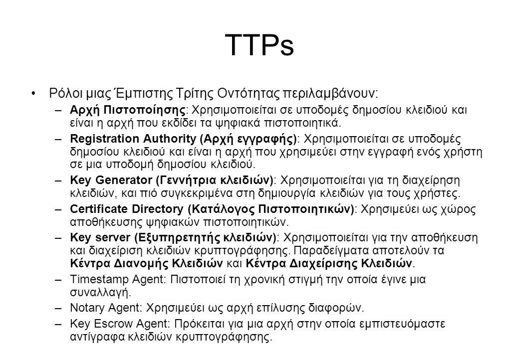 TTPs •Ρόλοι μιας Έμπιστης Τρίτης Οντότητας περιλαμβάνουν: –Αρχή Πιστοποίησης: Χρησιμοποιείται σε υποδομές δημοσίου κλειδιού και είναι η αρχή που εκδίδ