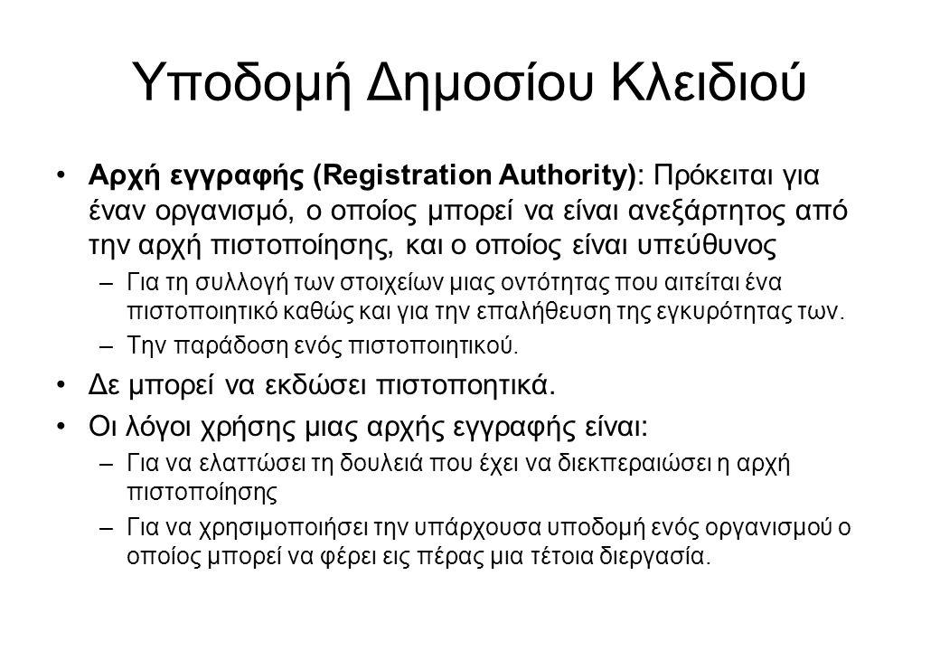 Υποδομή Δημοσίου Κλειδιού •Αρχή εγγραφής (Registration Authority): Πρόκειται για έναν οργανισμό, ο οποίος μπορεί να είναι ανεξάρτητος από την αρχή πισ