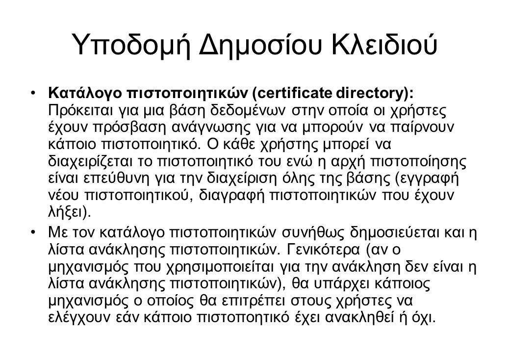 Υποδομή Δημοσίου Κλειδιού •Κατάλογο πιστοποιητικών (certificate directory): Πρόκειται για μια βάση δεδομένων στην οποία οι χρήστες έχουν πρόσβαση ανάγ