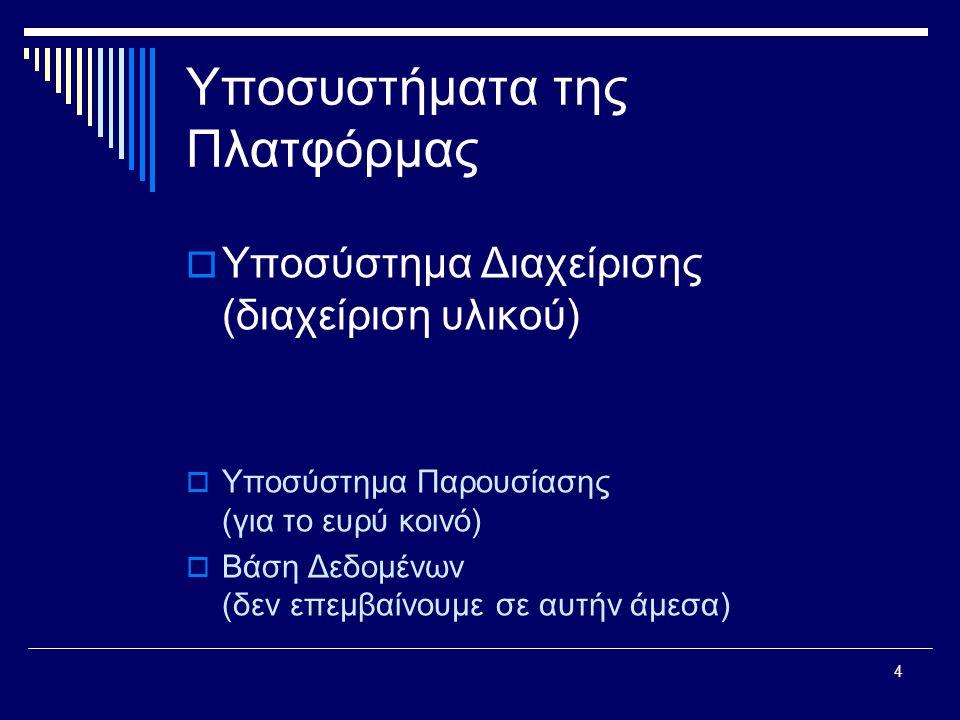 4 Υποσυστήματα της Πλατφόρμας  Υποσύστημα Διαχείρισης (διαχείριση υλικού)  Υποσύστημα Παρουσίασης (για το ευρύ κοινό)  Βάση Δεδομένων (δεν επεμβαίνουμε σε αυτήν άμεσα)