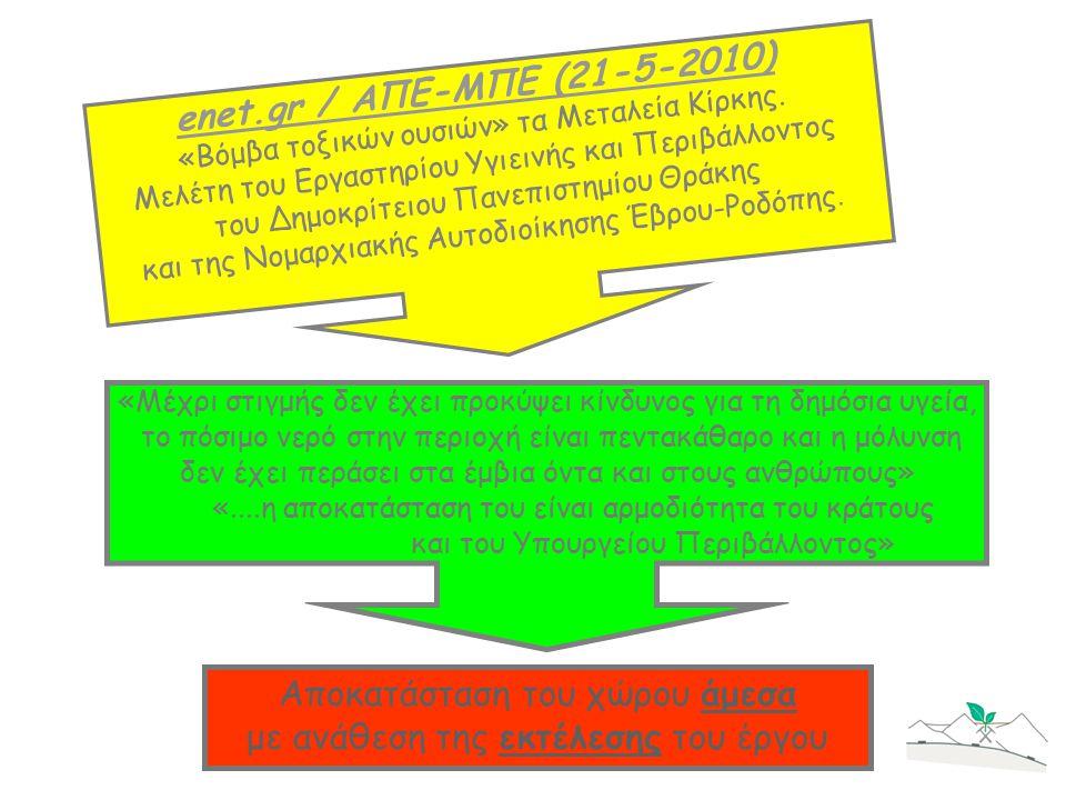 enet.gr / ΑΠΕ-ΜΠΕ (21-5-2010) «Βόμβα τοξικών ουσιών» τα Μεταλεία Κίρκης. Μελέτη του Εργαστηρίου Υγιεινής και Περιβάλλοντος του Δημοκρίτειου Πανεπιστημ