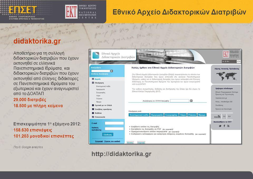 Εθνικό Αρχείο Διδακτορικών Διατριβών http://didaktorika.gr Αποθετήριο για τη συλλογή διδακτορικών διατριβών που έχουν εκπονηθεί σε ελληνικά Πανεπιστημιακά Ιδρύματα, και διδακτορικών διατριβών που έχουν εκπονηθεί από έλληνες διδάκτορες σε Πανεπιστημιακά Ιδρύματα του εξωτερικού και έχουν αναγνωριστεί από το ΔΟΑΤΑΠ 29.000 διατριβές 18.500 με πλήρη κείμενα Επισκεψιμότητα 1 ο εξάμηνο 2012: 158.630 επισκέψεις 101.203 μοναδικοί επισκέπτες Πηγή: Google analytics didaktorika.gr