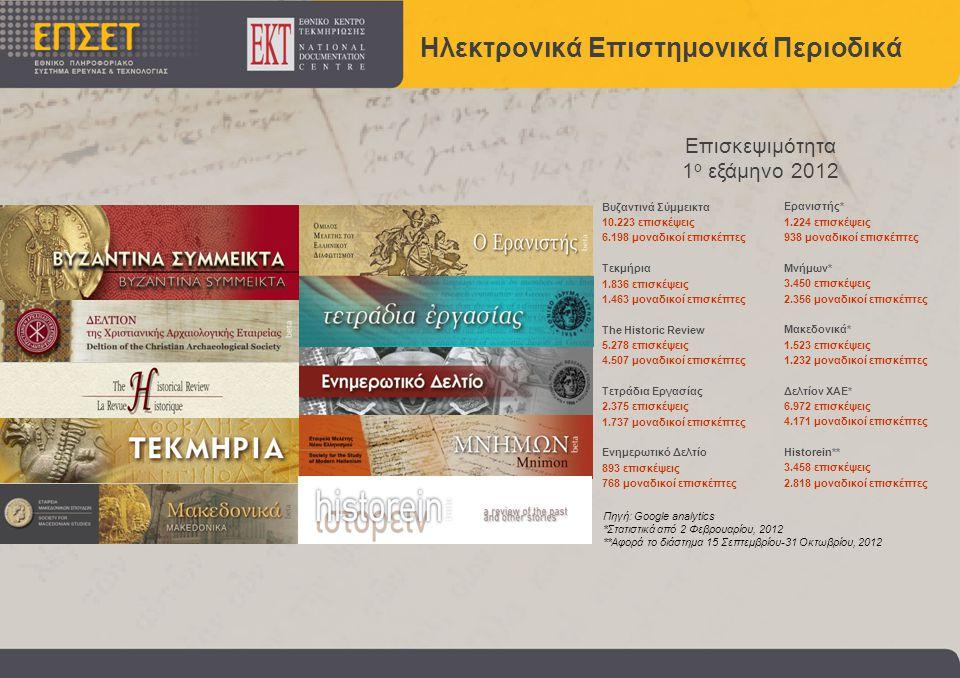 Ηλεκτρονικά Επιστημονικά Περιοδικά Βυζαντινά Σύμμεικτα 10.223 επισκέψεις 6.198 μοναδικοί επισκέπτες Τεκμήρια 1.836 επισκέψεις 1.463 μοναδικοί επισκέπτες The Historic Review 5.278 επισκέψεις 4.507 μοναδικοί επισκέπτες Τετράδια Εργασίας 2.375 επισκέψεις 1.737 μοναδικοί επισκέπτες Ενημερωτικό Δελτίο 893 επισκέψεις 768 μοναδικοί επισκέπτες Ερανιστής* 1.224 επισκέψεις 938 μοναδικοί επισκέπτες Μνήμων* 3.450 επισκέψεις 2.356 μοναδικοί επισκέπτες Μακεδονικά* 1.523 επισκέψεις 1.232 μοναδικοί επισκέπτες Δελτίον ΧΑΕ* 6.972 επισκέψεις 4.171 μοναδικοί επισκέπτες Historein** 3.458 επισκέψεις 2.818 μοναδικοί επισκέπτες Επισκεψιμότητα 1 ο εξάμηνο 2012 Πηγή: Google analytics *Στατιστικά από 2 Φεβρουαρίου, 2012 **Αφορά το διάστημα 15 Σεπτεμβρίου-31 Οκτωβρίου, 2012
