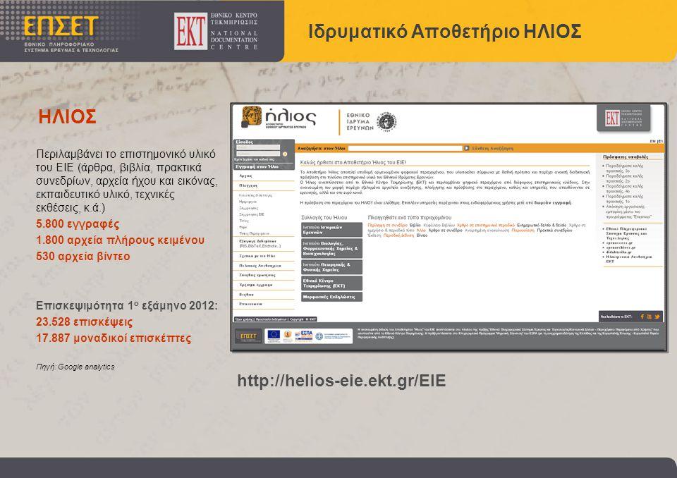 Περιλαμβάνει το επιστημονικό υλικό του ΕΙΕ (άρθρα, βιβλία, πρακτικά συνεδρίων, αρχεία ήχου και εικόνας, εκπαιδευτικό υλικό, τεχνικές εκθέσεις, κ.ά.) 5.800 εγγραφές 1.800 αρχεία πλήρους κειμένου 530 αρχεία βίντεο Επισκεψιμότητα 1 ο εξάμηνο 2012: 23.528 επισκέψεις 17.887 μοναδικοί επισκέπτες Πηγή: Google analytics Ιδρυματικό Αποθετήριο ΗΛΙΟΣ http://helios-eie.ekt.gr/EIE ΗΛΙΟΣ