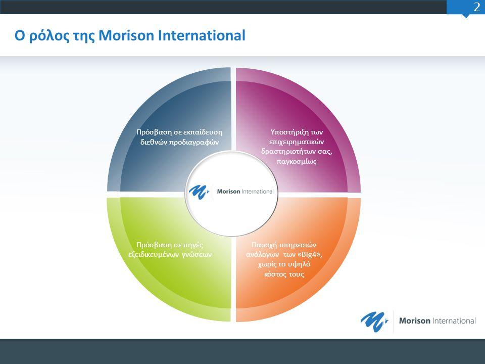 2 Ο ρόλος της Morison International Πρόσβαση σε εκπαίδευση διεθνών προδιαγραφών Υποστήριξη των επιχειρηματικών δραστηριοτήτων σας, παγκοσμίως Παροχή υ