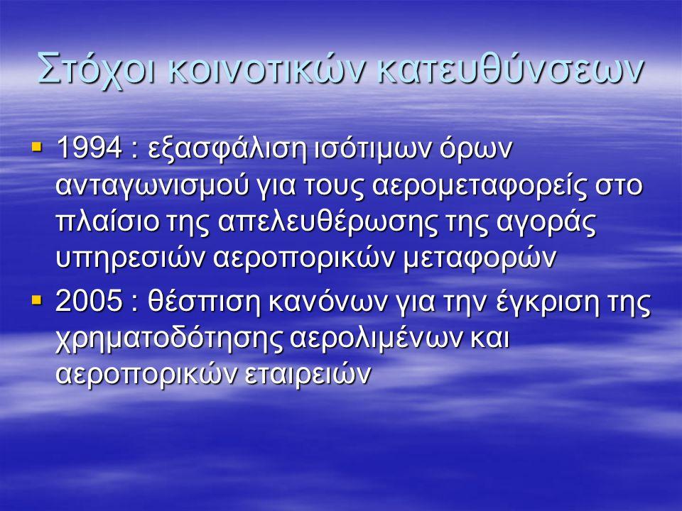 Στόχοι κοινοτικών κατευθύνσεων  1994 : εξασφάλιση ισότιμων όρων ανταγωνισμού για τους αερομεταφορείς στο πλαίσιο της απελευθέρωσης της αγοράς υπηρεσιών αεροπορικών μεταφορών  2005 : θέσπιση κανόνων για την έγκριση της χρηματοδότησης αερολιμένων και αεροπορικών εταιρειών