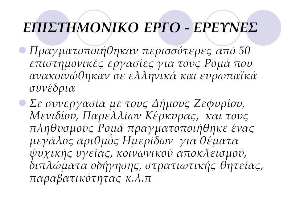 ΕΠΙΣΤΗΜΟΝΙΚΟ ΕΡΓΟ - ΕΡΕΥΝΕΣ  Πραγματοποιήθηκαν περισσότερες από 50 επιστημονικές εργασίες για τους Ρομά που ανακοινώθηκαν σε ελληνικά και ευρωπαϊκά συνέδρια  Σε συνεργασία με τους Δήμους Ζεφυρίου, Μενιδίου, Παρελλίων Κέρκυρας, και τους πληθυσμούς Ρομά πραγματοποιήθηκε ένας μεγάλος αριθμός Ημερίδων για θέματα ψυχικής υγείας, κοινωνικού αποκλεισμού, διπλώματα οδήγησης, στρατιωτικής θητείας, παραβατικότητας κ.λ.π