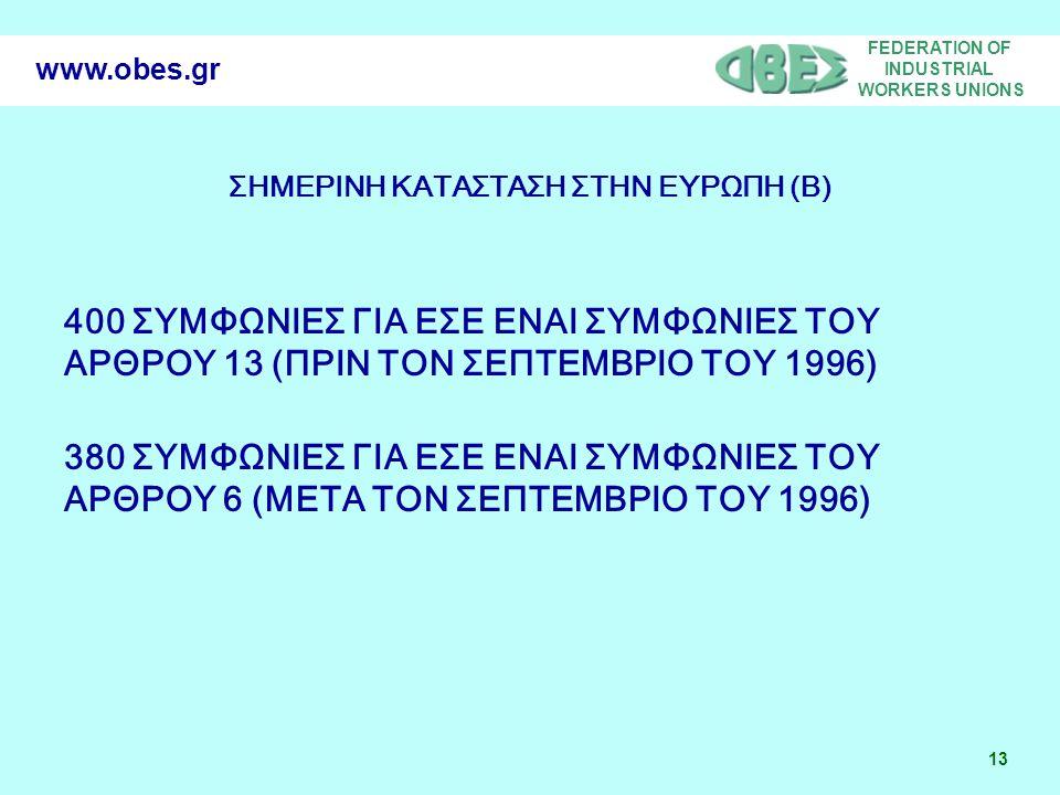 FEDERATION OF INDUSTRIAL WORKERS UNIONS 13 www.obes.gr ΣΗΜΕΡΙΝΗ ΚΑΤΑΣΤΑΣΗ ΣΤΗΝ ΕΥΡΩΠΗ (B) 400 ΣΥΜΦΩΝΙΕΣ ΓΙΑ ΕΣΕ ΕΝΑΙ ΣΥΜΦΩΝΙΕΣ ΤΟΥ ΑΡΘΡΟΥ 13 (ΠΡΙΝ ΤΟΝ ΣΕΠΤΕΜΒΡΙΟ ΤΟΥ 1996) 380 ΣΥΜΦΩΝΙΕΣ ΓΙΑ ΕΣΕ ΕΝΑΙ ΣΥΜΦΩΝΙΕΣ ΤΟΥ ΑΡΘΡΟΥ 6 (ΜΕΤΑ ΤΟΝ ΣΕΠΤΕΜΒΡΙΟ ΤΟΥ 1996)
