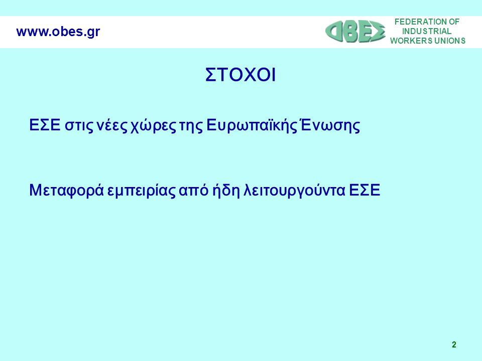 FEDERATION OF INDUSTRIAL WORKERS UNIONS 3 www.obes.gr ΔΡΑΣΕΙΣ •Συνάντηση συνδικαλιστών στην Αθήνα στις 25/9/06 •Συνάντηση συνδικαλιστών στην Σόφια στις 8 Δεκέμβρη •Διευρωπαϊκή ημερίδα στην Αθήνα στις 2/2/07 •Ανταλλαγή εμπειρίας μεταξύ συνδικαλιστών για τα ΕΣΕ •Ανάπτυξη web site www.obes.grwww.obes.gr Τα βασικά σημεία και τα συμπεράσματα από τις παραπάνω δράσεις θα αποτυπωθούν σε εκθέσεις που θα σταλούν σε Υπουργεία, Ευρωπαϊκή Ένωση κ.λ.π.