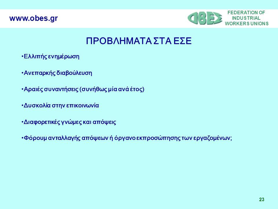 FEDERATION OF INDUSTRIAL WORKERS UNIONS 23 www.obes.gr ΠΡΟΒΛΗΜΑΤΑ ΣΤΑ ΕΣΕ •Ελλιπής ενημέρωση •Ανεπαρκής διαβούλευση •Αραιές συναντήσεις (συνήθως μία ανά έτος) •Δυσκολία στην επικοινωνία •Διαφορετικές γνώμες και απόψεις •Φόρουμ ανταλλαγής απόψεων ή όργανο εκπροσώπησης των εργαζομένων;