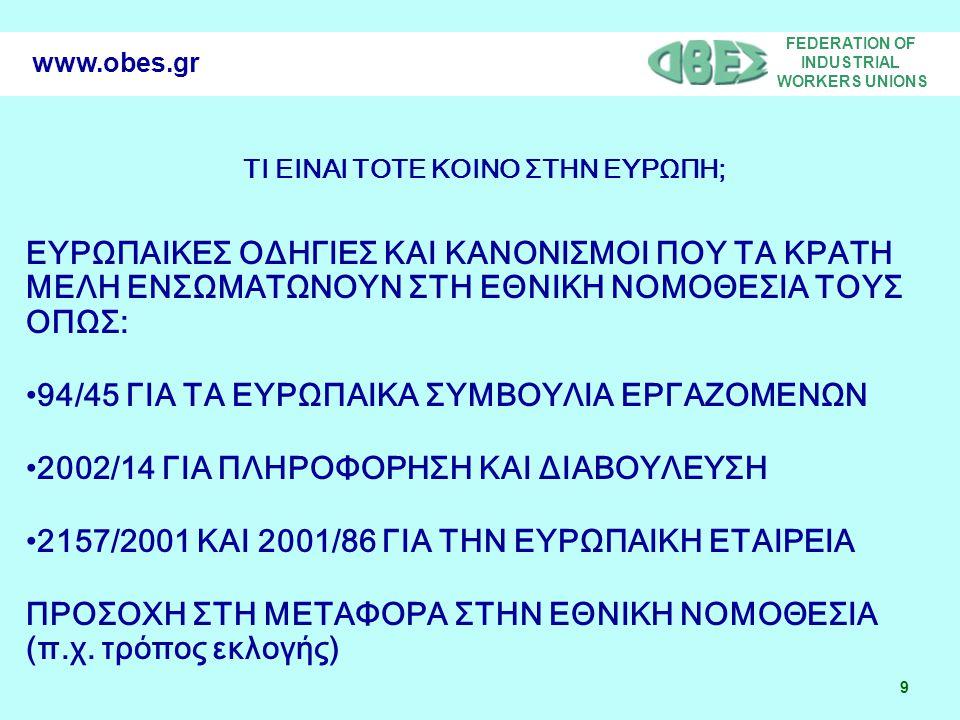FEDERATION OF INDUSTRIAL WORKERS UNIONS 9 www.obes.gr ΤΙ ΕΙΝΑΙ ΤΟΤΕ ΚΟΙΝΟ ΣΤΗΝ ΕΥΡΩΠΗ; ΕΥΡΩΠΑΙΚΕΣ ΟΔΗΓΙΕΣ ΚΑΙ ΚΑΝΟΝΙΣΜΟΙ ΠΟΥ ΤΑ ΚΡΑΤΗ ΜΕΛΗ ΕΝΣΩΜΑΤΩΝΟΥΝ ΣΤΗ ΕΘΝΙΚΗ ΝΟΜΟΘΕΣΙΑ ΤΟΥΣ ΟΠΩΣ: •94/45 ΓΙΑ ΤΑ ΕΥΡΩΠΑΙΚΑ ΣΥΜΒΟΥΛΙΑ ΕΡΓΑΖΟΜΕΝΩΝ •2002/14 ΓΙΑ ΠΛΗΡΟΦΟΡΗΣΗ ΚΑΙ ΔΙΑΒΟΥΛΕΥΣΗ •2157/2001 ΚΑΙ 2001/86 ΓΙΑ ΤΗΝ ΕΥΡΩΠΑΙΚΗ ΕΤΑΙΡΕΙΑ ΠΡΟΣΟΧΗ ΣΤΗ ΜΕΤΑΦΟΡΑ ΣΤΗΝ ΕΘΝΙΚΗ ΝΟΜΟΘΕΣΙΑ (π.χ.