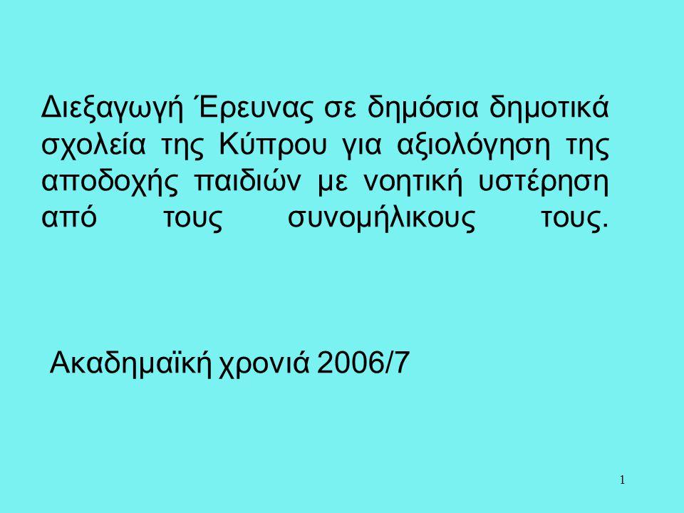 1 Διεξαγωγή Έρευνας σε δημόσια δημοτικά σχολεία της Κύπρου για αξιολόγηση της αποδοχής παιδιών με νοητική υστέρηση από τους συνομήλικους τους. Ακαδημα