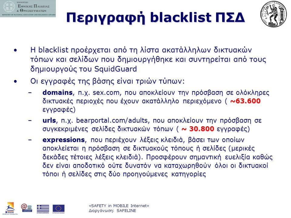 «SAFETY in MOBILE Internet» Διοργάνωση: SAFELINE Περιγραφή blacklist ΠΣΔ •Η blacklist προέρχεται από τη λίστα ακατάλληλων δικτυακών τόπων και σελίδων