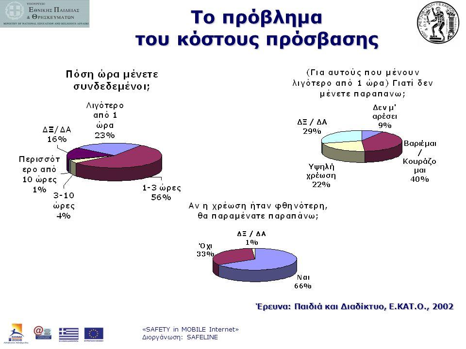 «SAFETY in MOBILE Internet» Διοργάνωση: SAFELINE Το πρόβλημα του κόστους πρόσβασης Έρευνα: Παιδιά και Διαδίκτυο, Ε.ΚΑΤ.Ο., 2002