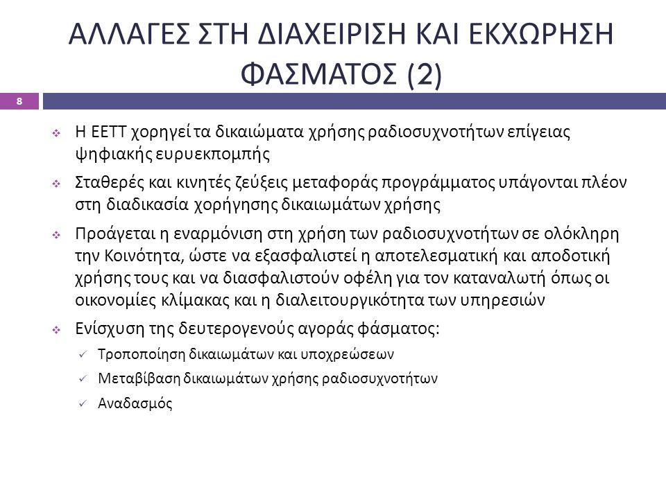 ΑΛΛΑΓΕΣ ΣΤΗ ΔΙΑΧΕΙΡΙΣΗ ΚΑΙ ΕΚΧΩΡΗΣΗ ΦΑΣΜΑΤΟΣ (2)  Η ΕΕΤΤ χορηγεί τα δικαιώματα χρήσης ραδιοσυχνοτήτων επίγειας ψηφιακής ευρυεκπομπής  Σταθερές και κ