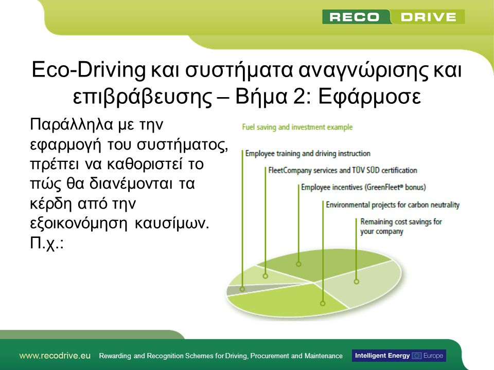 Rewarding and Recognition Schemes for Driving, Procurement and Maintenance Eco-Driving και συστήματα αναγνώρισης και επιβράβευσης – Βήμα 2: Εφάρμοσε Π