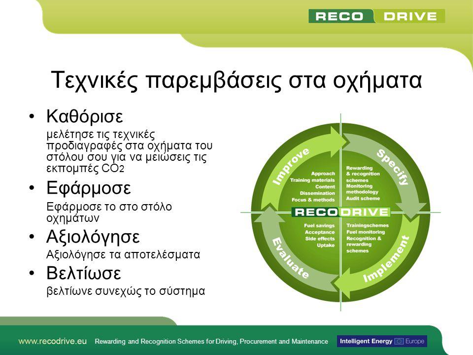 Rewarding and Recognition Schemes for Driving, Procurement and Maintenance Τεχνικές παρεμβάσεις στα οχήματα •Καθόρισε μελέτησε τις τεχνικές προδιαγραφές στα οχήματα του στόλου σου για να μειώσεις τις εκπομπές CO 2 •Εφάρμοσε Εφάρμοσε το στο στόλο οχημάτων •Αξιολόγησε Αξιολόγησε τα αποτελέσματα •Βελτίωσε βελτίωνε συνεχώς το σύστημα