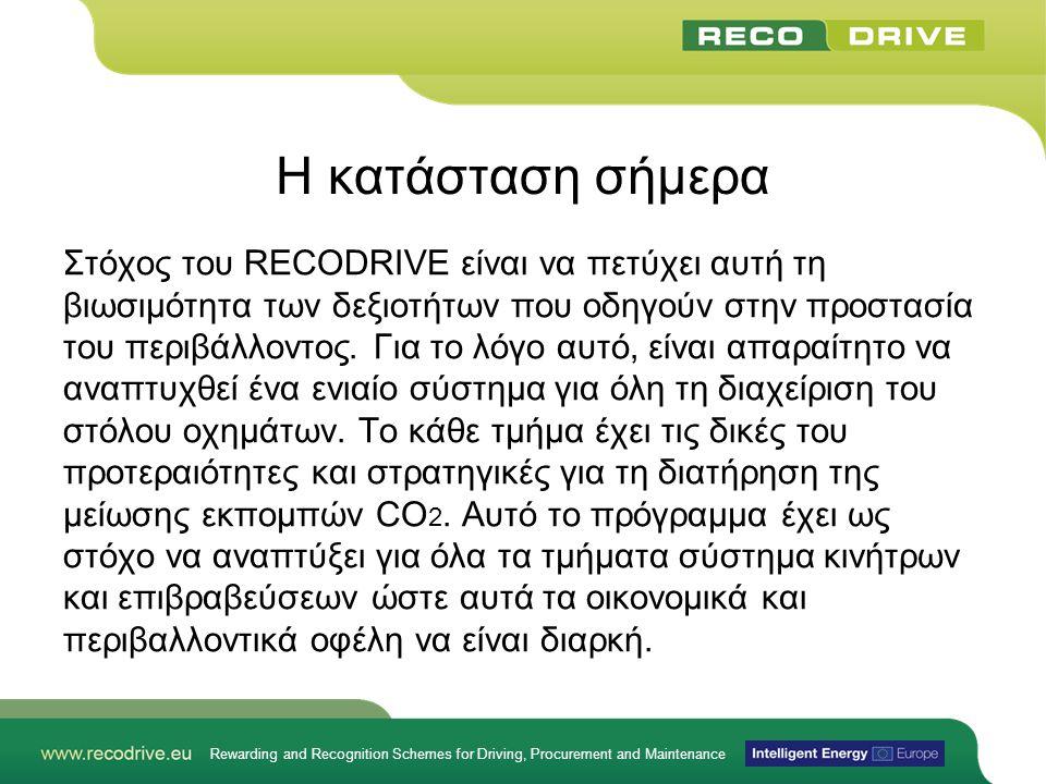 Rewarding and Recognition Schemes for Driving, Procurement and Maintenance Η κατάσταση σήμερα Στόχος του RECODRIVE είναι να πετύχει αυτή τη βιωσιμότητα των δεξιοτήτων που οδηγούν στην προστασία του περιβάλλοντος.