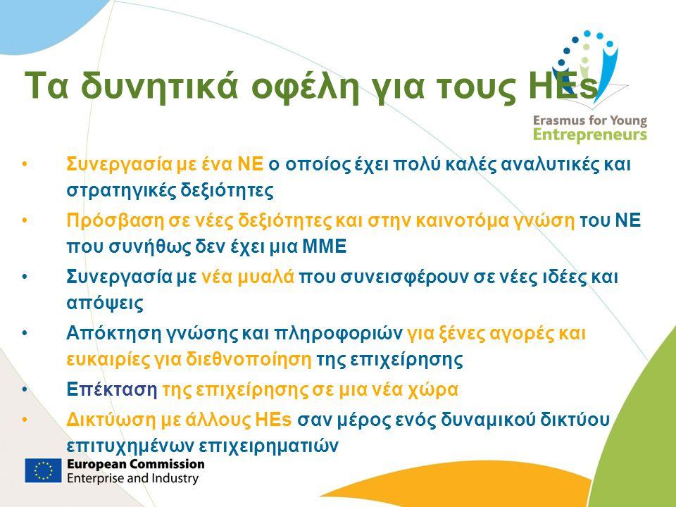 Τα δυνητικά οφέλη για τους HEs •Συνεργασία με ένα NE ο οποίος έχει πολύ καλές αναλυτικές και στρατηγικές δεξιότητες •Πρόσβαση σε νέες δεξιότητες και σ