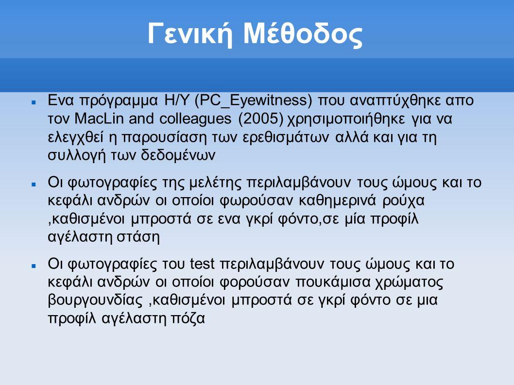 Γενική Μέθοδος  Ενα πρόγραμμα Η/Υ (PC_Eyewitness) που αναπτύχθηκε απο τον ΜacLin and colleagues (2005) χρησιμοποιήθηκε για να ελεγχθεί η παρουσίαση των ερεθισμάτων αλλά και για τη συλλογή των δεδομένων  Οι φωτογραφίες της μελέτης περιλαμβάνουν τους ώμους και το κεφάλι ανδρών οι οποίοι φωρούσαν καθημερινά ρούχα,καθισμένοι μπροστά σε ενα γκρί φόντο,σε μία προφίλ αγέλαστη στάση  Οι φωτογραφίες του test περιλαμβάνουν τους ώμους και το κεφάλι ανδρών οι οποίοι φoρούσαν πουκάμισα χρώματος βουργουνδίας,καθισμένοι μπροστά σε γκρί φόντο σε μια προφίλ αγέλαστη πόζα