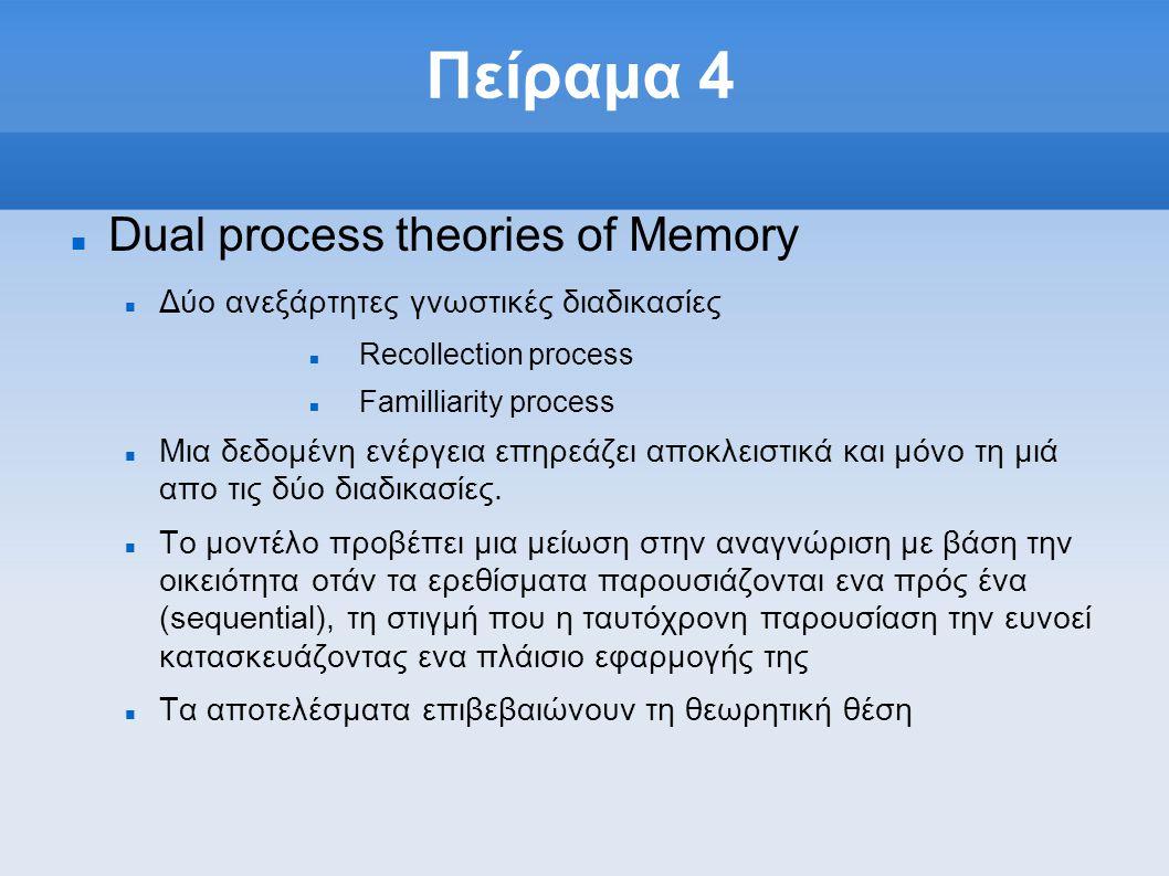 Πείραμα 4  Dual process theories of Memory  Δύο ανεξάρτητες γνωστικές διαδικασίες  Recollection process  Familliarity process  Mια δεδομένη ενέργεια επηρεάζει αποκλειστικά και μόνο τη μιά απο τις δύο διαδικασίες.