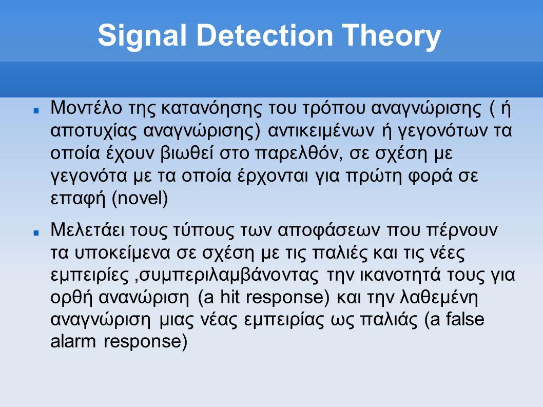 Signal Detection Theory  Moντέλο της κατανόησης του τρόπου αναγνώρισης ( ή αποτυχίας αναγνώρισης) αντικειμένων ή γεγονότων τα οποία έχουν βιωθεί στο παρελθόν, σε σχέση με γεγονότα με τα οποία έρχονται για πρώτη φορά σε επαφή (novel)  Μελετάει τους τύπους των αποφάσεων που πέρνουν τα υποκείμενα σε σχέση με τις παλιές και τις νέες εμπειρίες,συμπεριλαμβάνοντας την ικανοτητά τους για ορθή ανανώριση (a hit response) και την λαθεμένη αναγνώριση μιας νέας εμπειρίας ως παλιάς (a false alarm response)