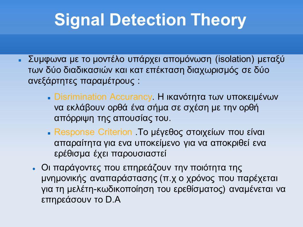 Signal Detection Theory  Συμφωνα με το μοντέλο υπάρχει απομόνωση (isolation) μεταξύ των δύο διαδικασιών και κατ επέκταση διαχωρισμός σε δύο ανεξάρτητες παραμέτρους :  Disrimination Accurancy.