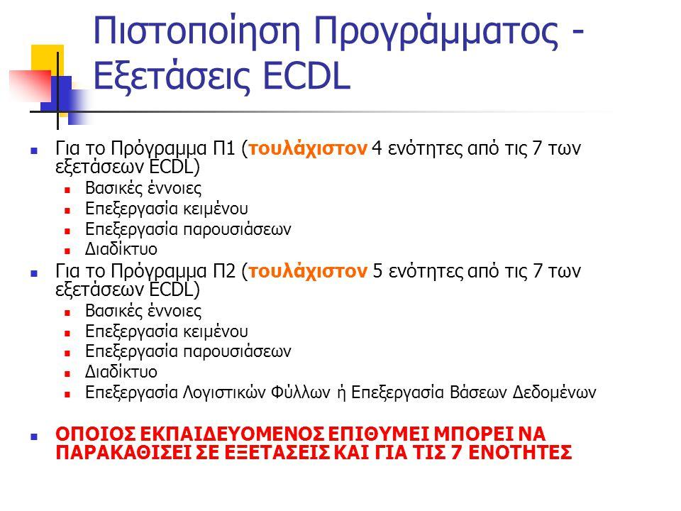 Πιστοποίηση Προγράμματος - Εξετάσεις ECDL  Για το Πρόγραμμα Π1 (τουλάχιστον 4 ενότητες από τις 7 των εξετάσεων ECDL)  Βασικές έννοιες  Επεξεργασία κειμένου  Επεξεργασία παρουσιάσεων  Διαδίκτυο  Για το Πρόγραμμα Π2 (τουλάχιστον 5 ενότητες από τις 7 των εξετάσεων ECDL)  Βασικές έννοιες  Επεξεργασία κειμένου  Επεξεργασία παρουσιάσεων  Διαδίκτυο  Επεξεργασία Λογιστικών Φύλλων ή Επεξεργασία Βάσεων Δεδομένων  ΟΠΟΙΟΣ ΕΚΠΑΙΔΕΥΟΜΕΝΟΣ ΕΠΙΘΥΜΕΙ ΜΠΟΡΕΙ ΝΑ ΠΑΡΑΚΑΘΙΣΕΙ ΣΕ ΕΞΕΤΑΣΕΙΣ ΚΑΙ ΓΙΑ ΤΙΣ 7 ΕΝΟΤΗΤΕΣ
