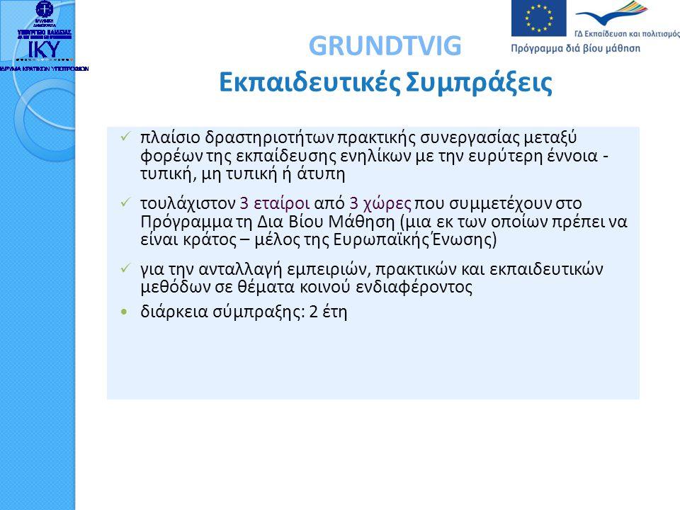 GRUNDTVIG Εκπαιδευτικές Συμπράξεις  πλαίσιο δραστηριοτήτων πρακτικής συνεργασίας μεταξύ φορέων της εκπαίδευσης ενηλίκων με την ευρύτερη έννοια - τυπι