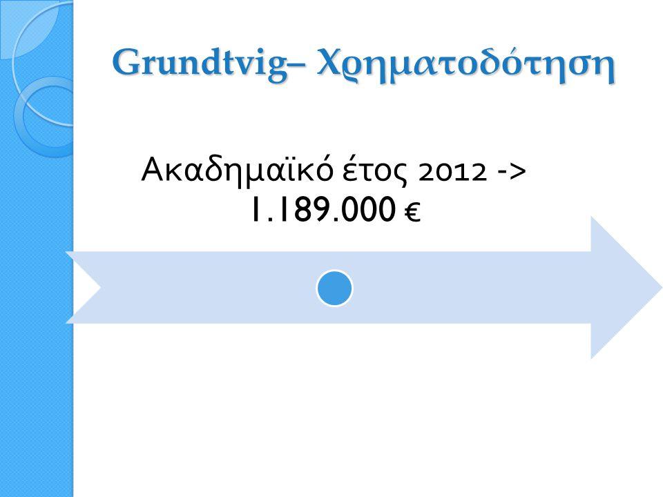 GRUNDTVIG Ενδοϋπηρεσιακή Κατάρτιση για Προσωπικό Εκπαίδευσης Ενηλίκων  Κύκλοι μαθημάτων εντός ή εκτός του ευρωπαϊκού καταλόγου σεμιναρίων: http://ec.europa.eu/education/trainingdatabase/search.cfm  Θέματα κατάρτισης: περιεχόμενο και μεθοδολογία της διδασκαλίας ενηλίκων, προσβασιμότητα των ενηλίκων σε μαθησιακές ευκαιρίες, διαχείριση της εκπαίδευσης ενηλίκων, συστήματα/πολιτικές εκπαίδευσης ενηλίκων  Διάρκεια: από 5 εργάσιμες ημέρες έως 6 εβδομάδες  3 προθεσμίες ανά έτος