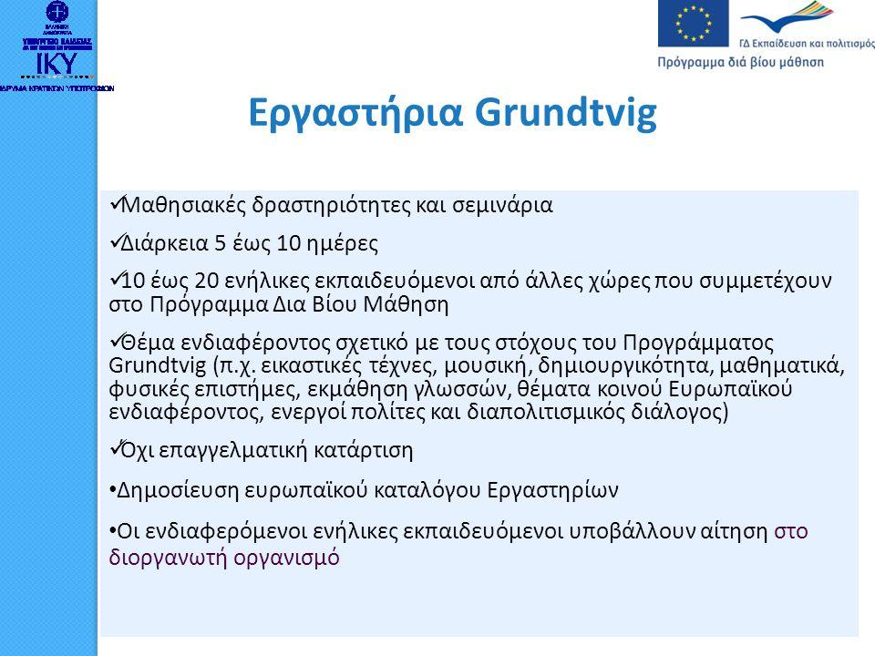 Εργαστήρια Grundtvig  Μαθησιακές δραστηριότητες και σεμινάρια  Διάρκεια 5 έως 10 ημέρες  10 έως 20 ενήλικες εκπαιδευόμενοι από άλλες χώρες που συμμ