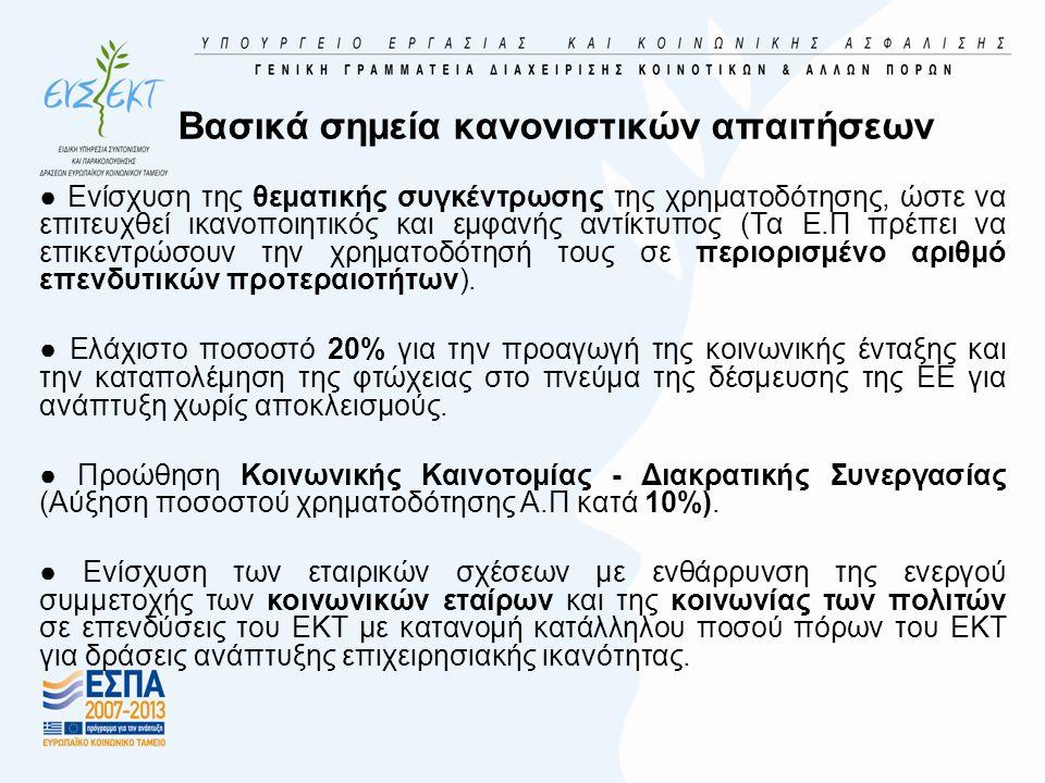Προώθηση της απασχόλησης και υποστήριξη της κινητικότητας των εργαζομένων (2)  Εκσυγχρονισμός και ενίσχυση των θεσμών της αγοράς εργασίας  ανάπτυξη μέτρων για έγκαιρη παρέμβαση και πρόληψη της ανεργίας  ανάπτυξη αναθεωρημένων ατομικών σχεδίων δράσης  ενίσχυση των σχέσεων και της συνεργασίας με τους εργοδότες  δημιουργία συστήματος διάγνωσης και ανάλυσης των δεδομένων της αγοράς εργασίας στους τομείς που παρουσιάζουν προοπτικές απασχόλησης  Αυτοαπασχόληση, επιχειρηματικότητα και δημιουργία επιχειρήσεων  Παροχή κινήτρων για παραγωγή νέων /καινοτόμων προϊόντων και υπηρεσιών
