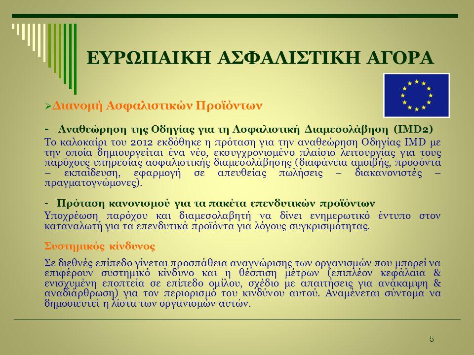 ΕΥΡΩΠΑΙΚΗ ΑΣΦΑΛΙΣΤΙΚΗ ΑΓΟΡΑ  Διανομή Ασφαλιστικών Προϊόντων - Αναθεώρηση της Οδηγίας για τη Ασφαλιστική Διαμεσολάβηση (IMD2) Το καλοκαίρι του 2012 εκ