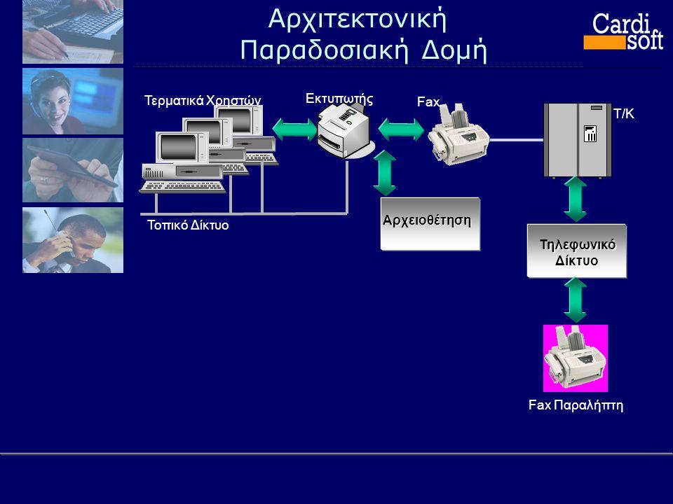 Αρχιτεκτονική Παραδοσιακή Δομή Τ/Κ Τηλεφωνικό Δίκτυο Τοπικό Δίκτυο Τερματικά Χρηστών Εκτυπωτής Fax Παραλήπτη FaxΑρχειοθέτηση