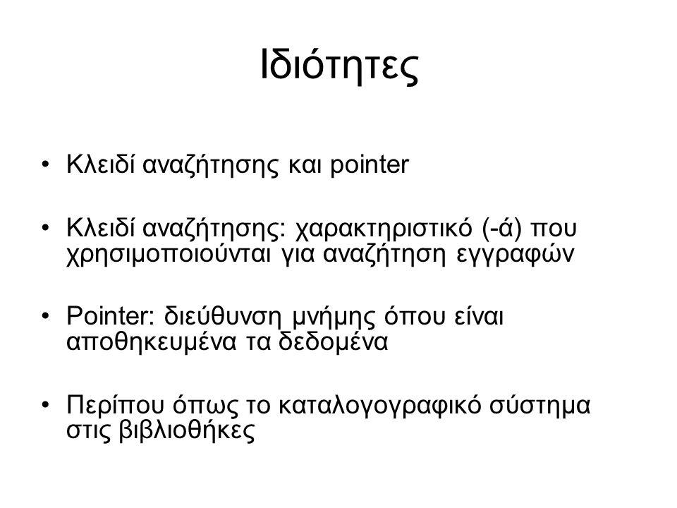 Ιδιότητες •Κλειδί αναζήτησης και pointer •Κλειδί αναζήτησης: χαρακτηριστικό (-ά) που χρησιμοποιούνται για αναζήτηση εγγραφών •Pointer: διεύθυνση μνήμη
