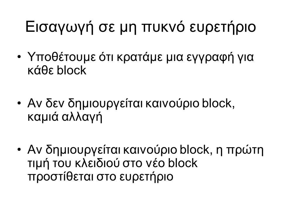 Εισαγωγή σε μη πυκνό ευρετήριο •Υποθέτουμε ότι κρατάμε μια εγγραφή για κάθε block •Αν δεν δημιουργείται καινούριο block, καμιά αλλαγή •Αν δημιουργείται καινούριο block, η πρώτη τιμή του κλειδιού στο νέο block προστίθεται στο ευρετήριο