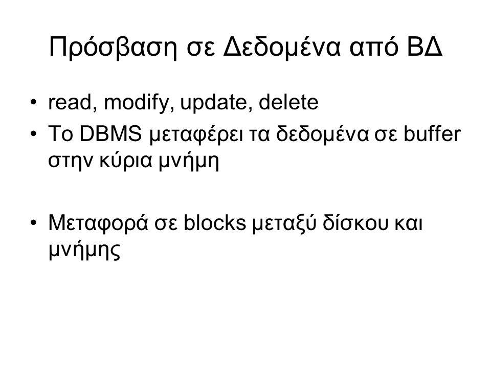 Πρόσβαση σε Δεδομένα από ΒΔ •read, modify, update, delete •Το DBMS μεταφέρει τα δεδομένα σε buffer στην κύρια μνήμη •Μεταφορά σε blocks μεταξύ δίσκου