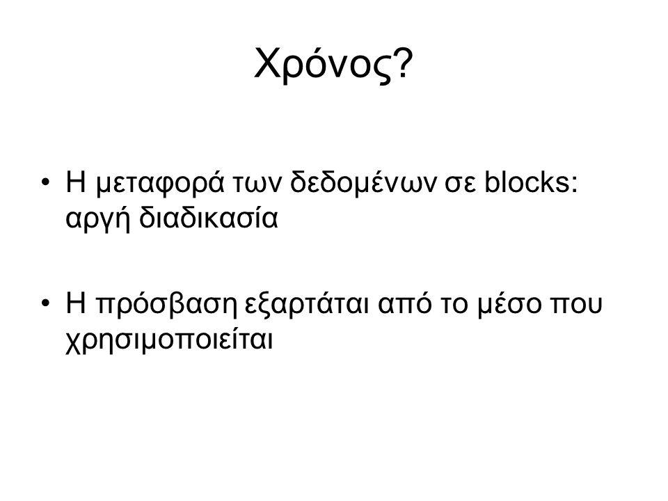 Χρόνος? •Η μεταφορά των δεδομένων σε blocks: αργή διαδικασία •Η πρόσβαση εξαρτάται από το μέσο που χρησιμοποιείται