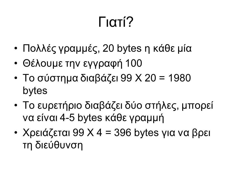 Γιατί? •Πολλές γραμμές, 20 bytes η κάθε μία •Θέλουμε την εγγραφή 100 •Το σύστημα διαβάζει 99 Χ 20 = 1980 bytes •Το ευρετήριο διαβάζει δύο στήλες, μπορ