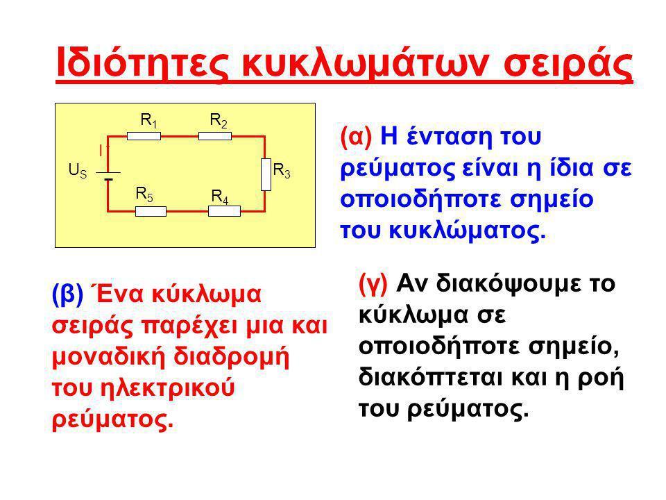Ιδιότητες κυκλωμάτων σειράς R1R1 R2R2 R5R5 R4R4 R3R3 USUS I (α) Η ένταση του ρεύματος είναι η ίδια σε οποιοδήποτε σημείο του κυκλώματος. (β) Ένα κύκλω