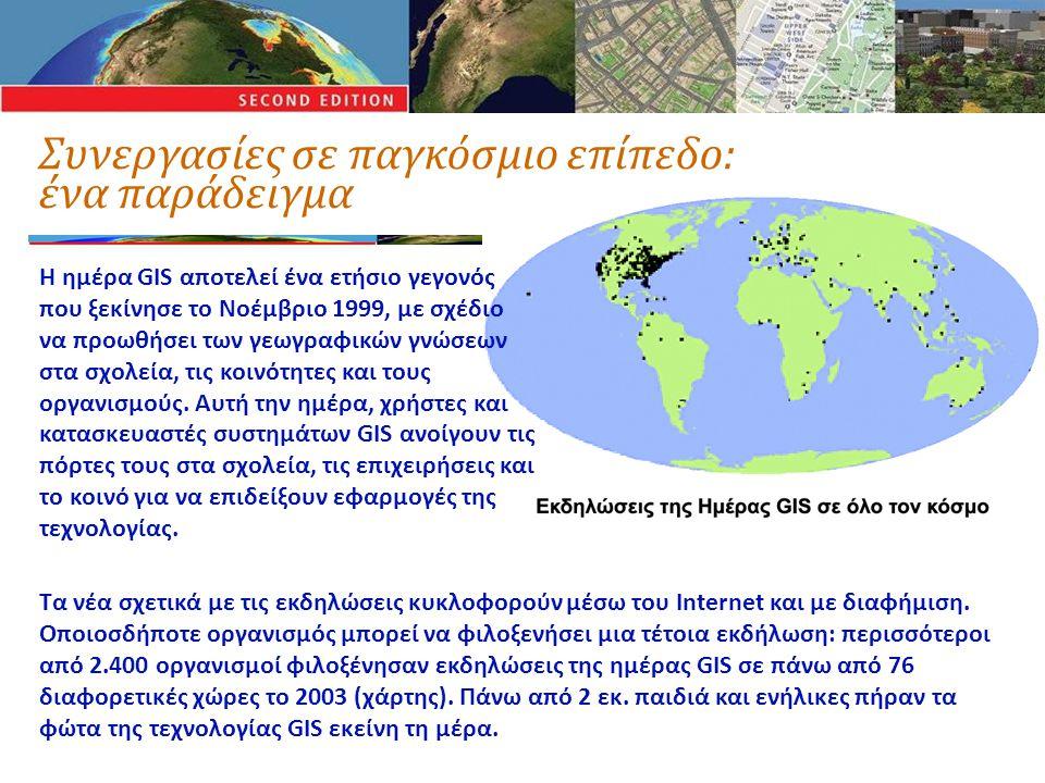 Συνεργασίες σε παγκόσμιο επίπεδο: ένα παράδειγμα Η ημέρα GIS αποτελεί ένα ετήσιο γεγονός που ξεκίνησε το Νοέμβριο 1999, με σχέδιο να προωθήσει των γεωγραφικών γνώσεων στα σχολεία, τις κοινότητες και τους οργανισμούς.