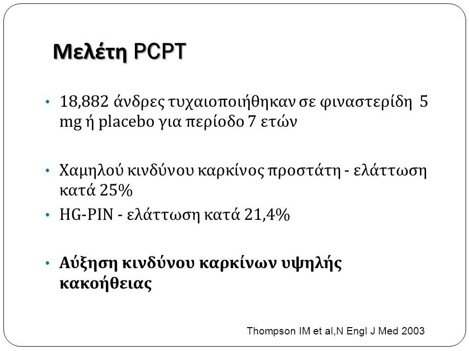 Μελέτη PCPT • 18,882 άνδρες τυχαιοποιήθηκαν σε φιναστερίδη 5 mg ή placebo για περίοδο 7 ετών • Χαμηλού κινδύνου καρκίνος προστάτη - ελάττωση κατά 25% • HG-PIN - ελάττωση κατά 21,4% • Αύξηση κινδύνου καρκίνων υψηλής κακοήθειας Thompson IM et al,N Engl J Med 2003