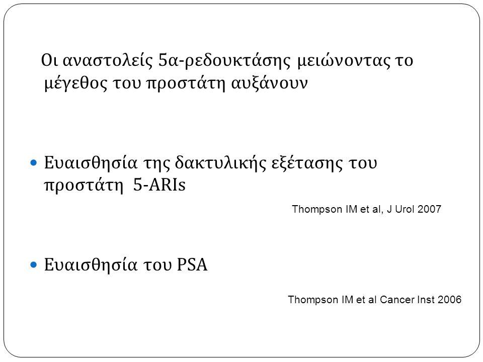 Οι αναστολείς 5 α - ρεδουκτάσης μειώνοντας το μέγεθος του προστάτη αυξάνουν  Ευαισθησία της δακτυλικής εξέτασης του προστάτη 5-ARIs  Ευαισθησία του PSA Thompson IM et al, J Urol 2007 Thompson IM et al Cancer Inst 2006