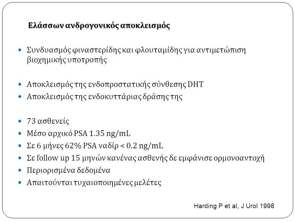 Ελάσσων ανδρογονικός αποκλεισμός  Συνδυασμός φιναστερίδης και φλουταμίδης για αντιμετώπιση βιοχημικής υποτροπής  Αποκλεισμός της ενδοπροστατικής σύνθεσης DHT  Αποκλεισμός της ενδοκυττάριας δράσης της  73 ασθενείς  Μέσο αρχικό PSA 1.35 ng/mL  Σε 6 μήνες 62% PSA ναδίρ < 0.2 ng/mL  Σε follow up 15 μηνών κανένας ασθενής δε εμφάνισε ορμονοαντοχή  Περιορισμένα δεδομένα  Απαιτούνται τυχαιοποιημένες μελέτες Harding P et al, J Urol 1998