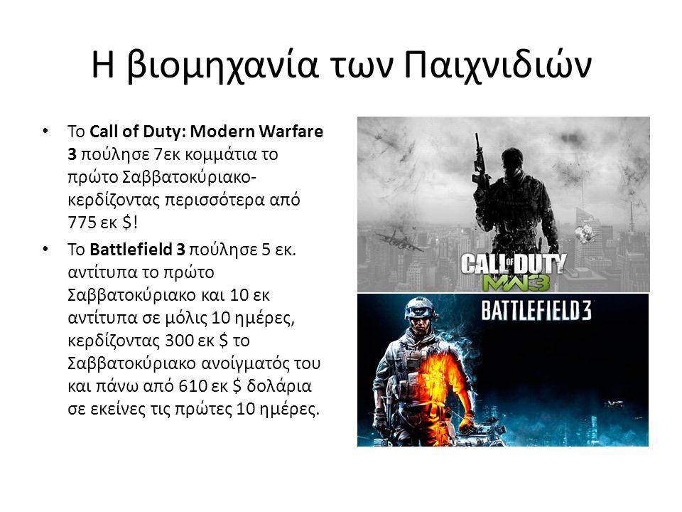 Η βιομηχανία των Παιχνιδιών • Το Call of Duty: Modern Warfare 3 πούλησε 7εκ κομμάτια το πρώτο Σαββατοκύριακο- κερδίζοντας περισσότερα από 775 εκ $! •