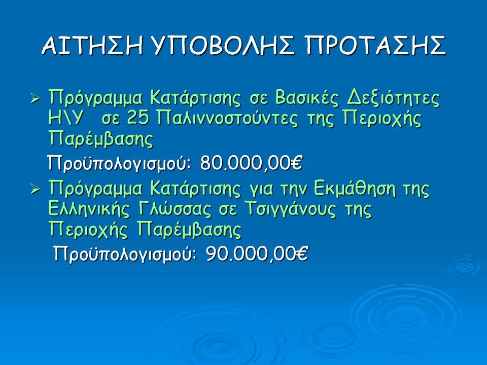 ΑΙΤΗΣΗ ΥΠΟΒΟΛΗΣ ΠΡΟΤΑΣΗΣ  Πρόγραμμα Κατάρτισης σε Βασικές Δεξιότητες Η\Υ σε 25 Παλιννοστούντες της Περιοχής Παρέμβασης Προϋπολογισμού: 80.000,00€ Προϋπολογισμού: 80.000,00€  Πρόγραμμα Κατάρτισης για την Εκμάθηση της Ελληνικής Γλώσσας σε Τσιγγάνους της Περιοχής Παρέμβασης Προϋπολογισμού: 90.000,00€ Προϋπολογισμού: 90.000,00€