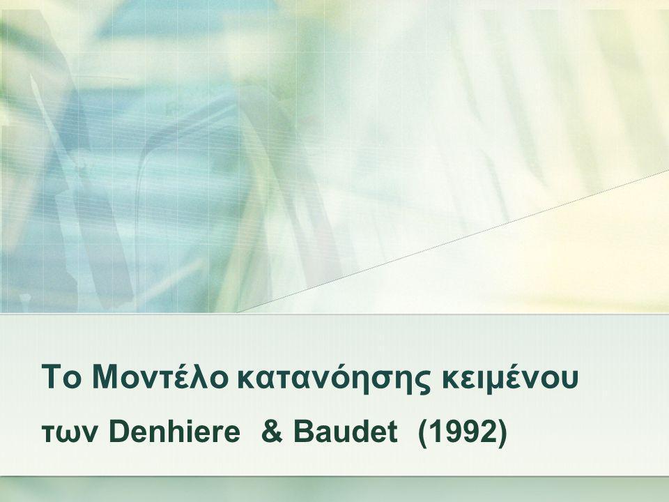 Το Μοντέλο κατανόησης κειμένου των Denhiere & Baudet (1992)