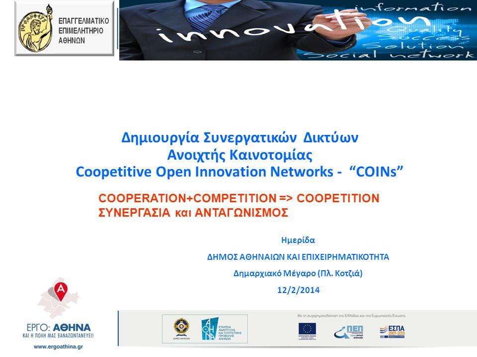 """Δημιουργία Συνεργατικών Δικτύων Ανοιχτής Καινοτομίας Coopetitive Open Innovation Networks - """"COINs"""" Ημερίδα ΔΗΜΟΣ ΑΘΗΝΑΙΩΝ ΚΑΙ ΕΠΙΧΕΙΡΗΜΑΤΙΚΟΤΗΤΑ Δημα"""