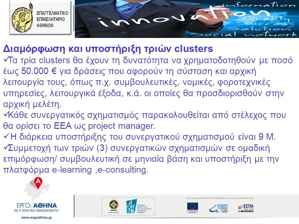 Διαμόρφωση και υποστήριξη τριών clusters  Τα τρία clusters θα έχουν τη δυνατότητα να χρηματοδοτηθούν με ποσό έως 50.000 € για δράσεις που αφορούν τη
